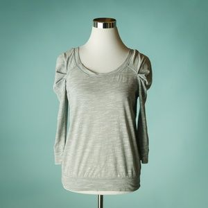 Free People S Gray Puff Shoulder Knit Top